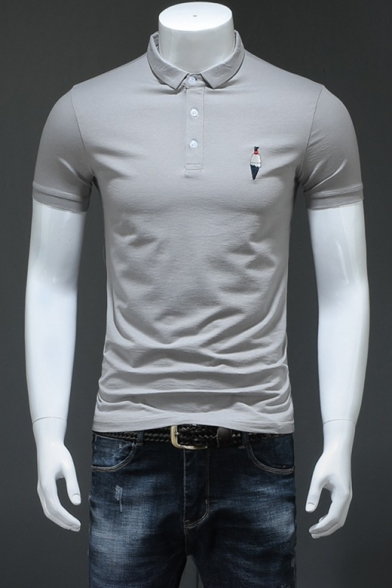 Men Summer Cute Ice Cream Logo Embroidery Short Sleeve Comfort Cotton Fitted Polo Shirt