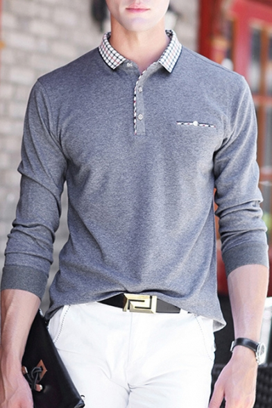 New Stylish Plaid Patched Collar Men's Casual Long Sleeve Business Polo Shirt