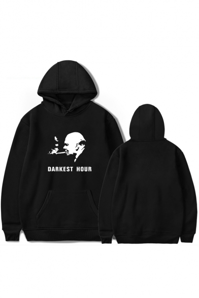 Simple Letter DARKEST HOUR Graphic Print Long Sleeve Casual Cotton Hoodie