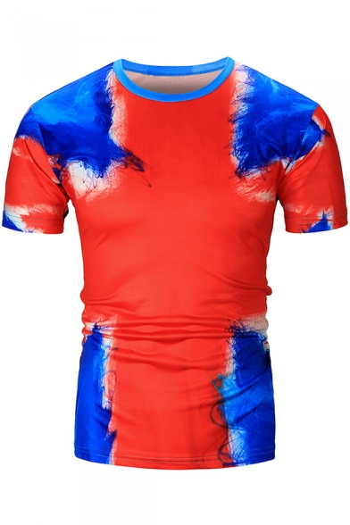 Unique 3D Tie Dye Flag Print Summer Fitted Red T-Shirt for Men