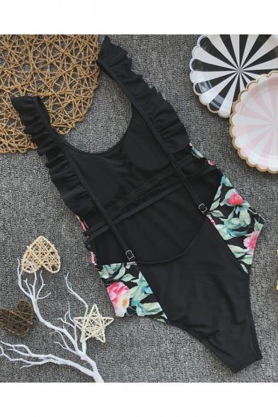 Black Fashion Floral Patchwork Ruffled Hem One-Piece Swimwear for Women