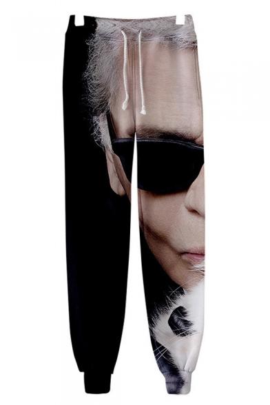 Karl Lagerfeld 3D Figure Print Drawstring Waist Stylish Casual Sport Track Pants