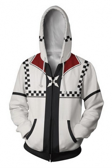 Kingdom Hearts Cosplay Costume Long Sleeve Zip Up White Hoodie