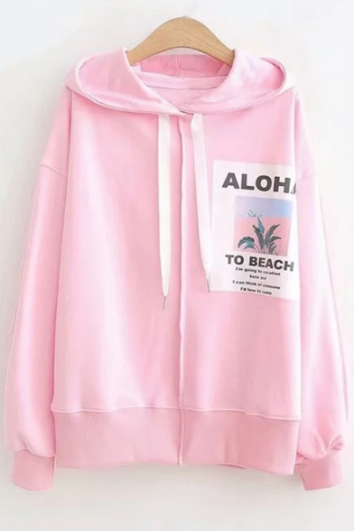 Letter TO BEACH Offset Print Long Sleeve Loose Fit Hoodie for Girls