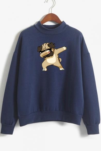 Mock Neck Long Sleeve Funny Cartoon Dog Pullover Casual Sweatshirt