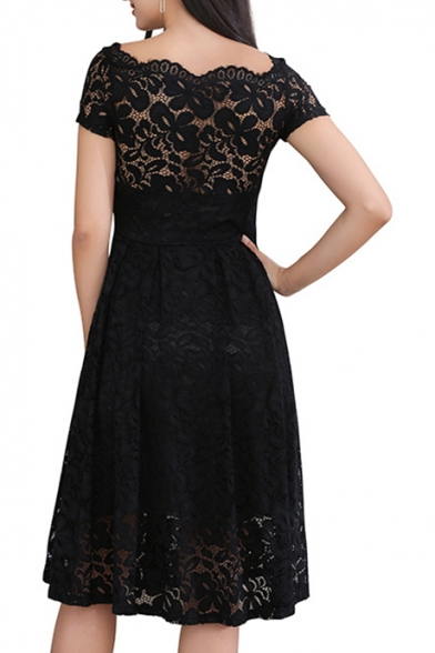 Summer New Fashion Hollow Out Short Sleeve Black Midi A-Line Lace Dress