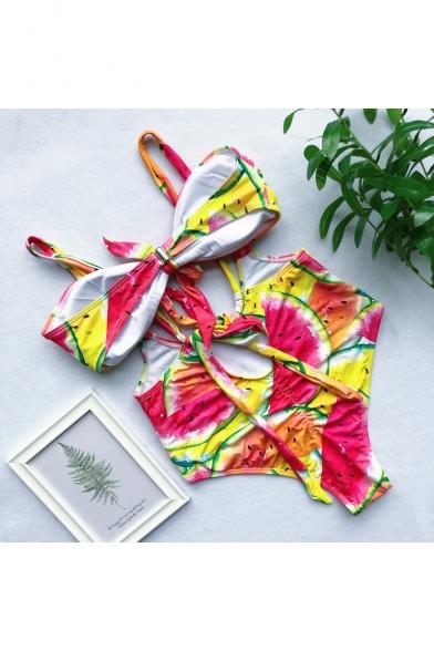 Summer New Trendy Fashion Printed Bow-Tied Front Overall Bikini Swimwear