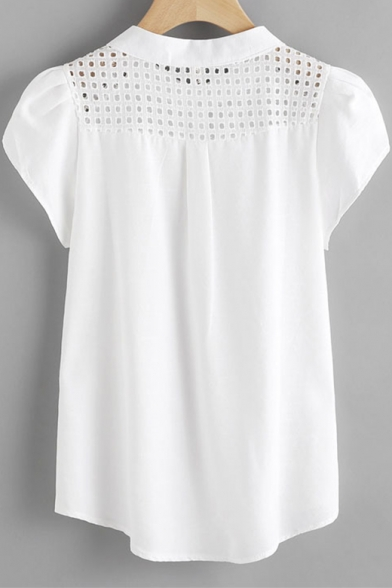 Summer White Hollow Out Detail Button Front Plain Casual Blouse