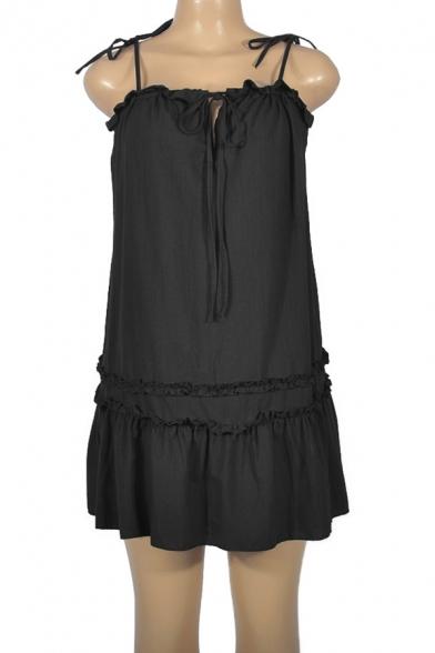 Trendy Drawstring Front Chic Ruffle Hem Simple Plain Mini Swing Cami Dress