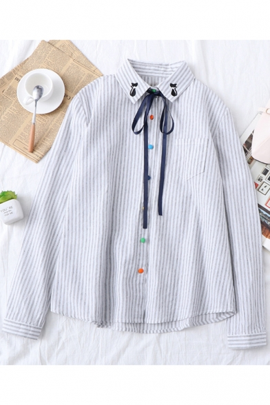 Fashion Bow-Tied Cat Embroidered Collar Long Sleeve Casual Loose Button Down Striped Shirt