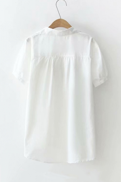 Fish Bone Embroidery Short Sleeve Button-Down Casual Loose Shirt