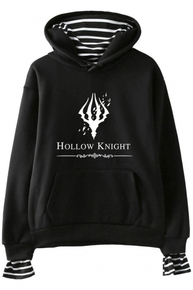 Hollow Knight Fashion Stripe Inside Long Sleeve Relaxed Fit Hoodie