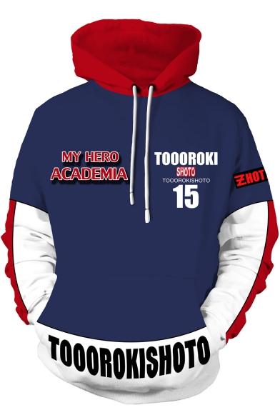 My Hero Academia Colorblocked Long Sleeve Sport Casual Blue Hoodie