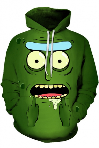 Rick and Morty Cool Funny 3D Comic Print Sport Loose Green Drawstring Hoodie