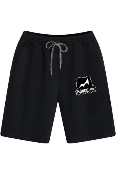 Summer Simple Letter MONOKUMR Print Drawstring-Waist Cotton Loose Running Sweat Shorts