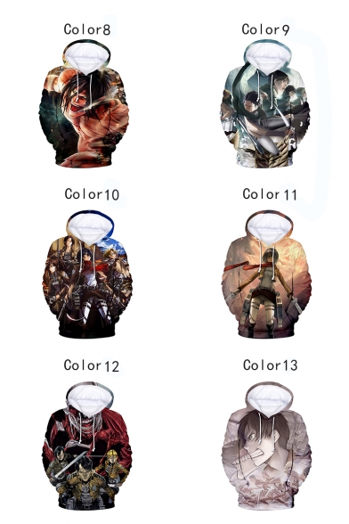 Cool 3D Comic Character Pattern Long Sleeve Sport Loose Hoodie