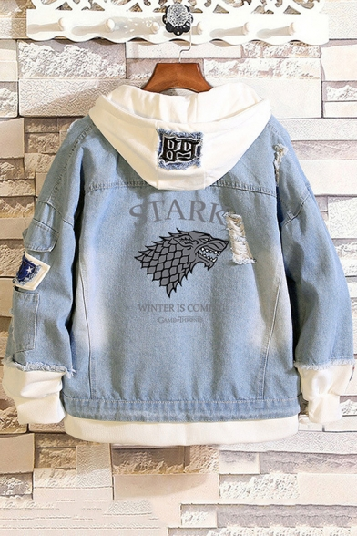 Game of Thrones Wlof Head Printed Ripped Long Sleeve Light Blue Hooded Button Down Denim Jacket