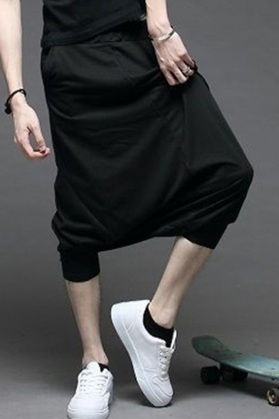 Guys Cool Simple Plain Gathered Cuff Cotton Black Hip Hop Baggy Pants Cropped Harem Pants