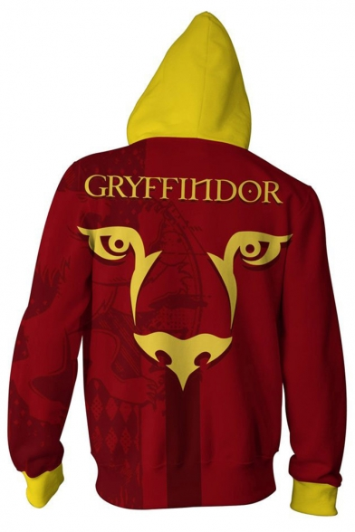Harry Potter Series Fashion Cool Colorblock Long Sleeve Comic Full Zip Fitted Hoodie