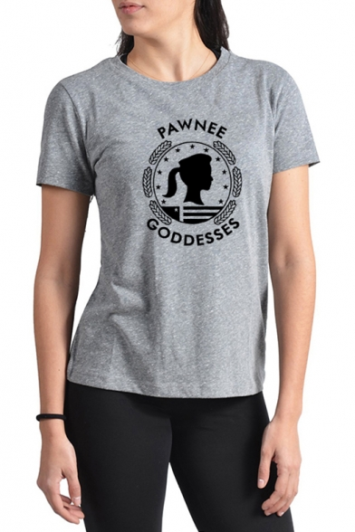 Letter PAWNEE GODDESSES Print Basic Short Sleeve Cotton Grey Graphic T-Shirt