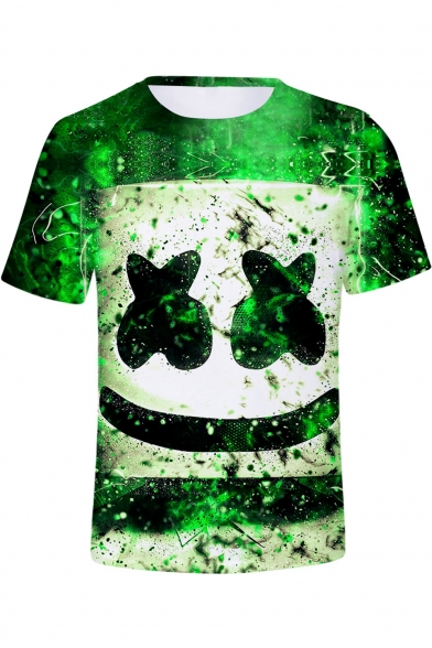 3D Funny Smile Face Figure Printed Short Sleeve Unisex T-Shirt