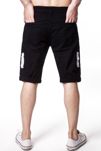 Men's Trendy Tape Patched Pocket Simple Plain Casual Cotton Chino Shorts