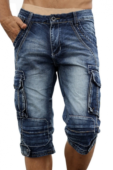 Men's Vintage Style Washed Distressed Flap-Pocket Side Capri Fitted Cargo Shorts Denim Shorts
