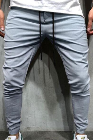Mens Basic Plain Drawstring Waist Gathered Cuff Stretch Slim-Fit Pencil Pants