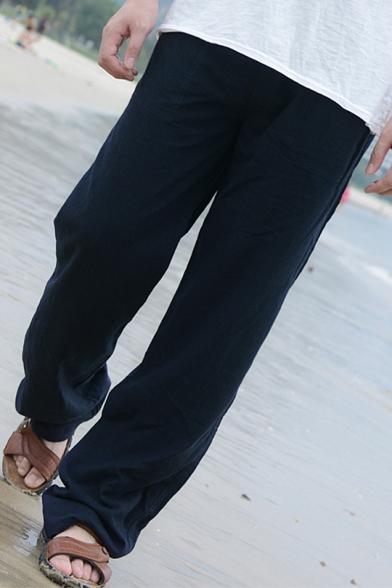 Mens Comfort Linen Basic Simple Plain Drawstring-Waist Loose Straight-Leg Pants