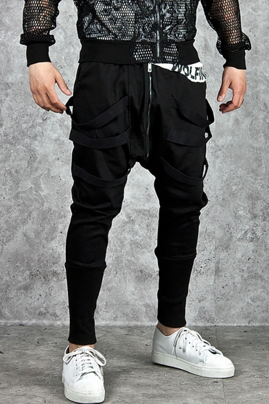 Mens Cool Plain Zip-Embellished Front Drawstring Waist Ribbon Patched Black Harem Pants