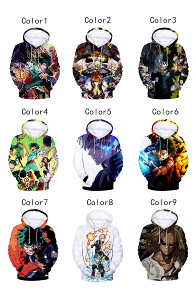 Cool 3D Comic Character Printed Long Sleeve Relaxed Fit Hoodie