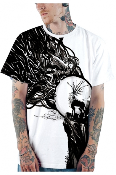 New Stylish 3D Deer Pattern Short Sleeve Black and White T-Shirt