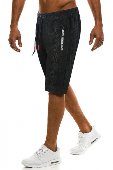 New Stylish Letter Tape Drawstring Waist Camo Print Mens Black Loose Relaxed Shorts