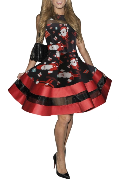 New Stylish Santa Claus Print Mesh Panel Gathered Waist Fit & Flare Dress