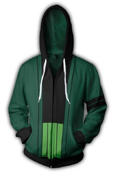 One Piece Fashion 3D Printed Comic Cosplay Costume Full Zip Green Drawstring Hoodie