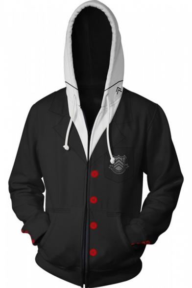 Persona Trendy Comic Cosplay Costume Long Sleeve Sport Casual Zip Up Black Hoodie