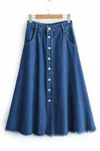 Купить со скидкой Retro High Waist Simple Plain Button Down Fringed Hem Midi A-Line Denim Blue Skirt