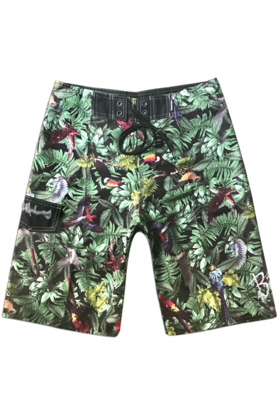 Summer Tropical Plant Bird Print Lace-Up Drawstring Waist Green Surfing Swim Shorts