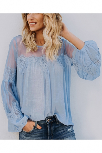 Women's Sexy Sheer Round Neck Lantern Sleeve Lace-Trimmed Plain Casual Blouse