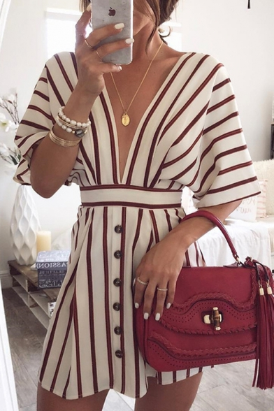 Women's Summer Sexy Plunge V Neck Button Front Classic Striped Printed Mini A-Line White Dress