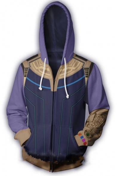 Avengers Endgame Cosplay Costume Cool 3D Print Long Sleeve Zip Up Casual Purple Hoodie
