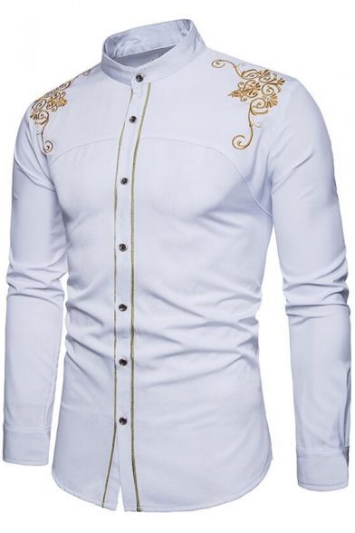 YYear Men Shirts Long Sleeve Printed Button Up Stand Collar Dress Shirts