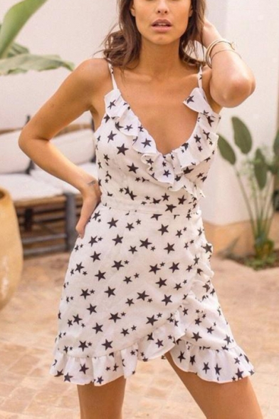 Fashion Five-Pointed Star Print V-Neck Bow-Tied Waist Ruffled Hem White Mini Chiffon Sheath Dress