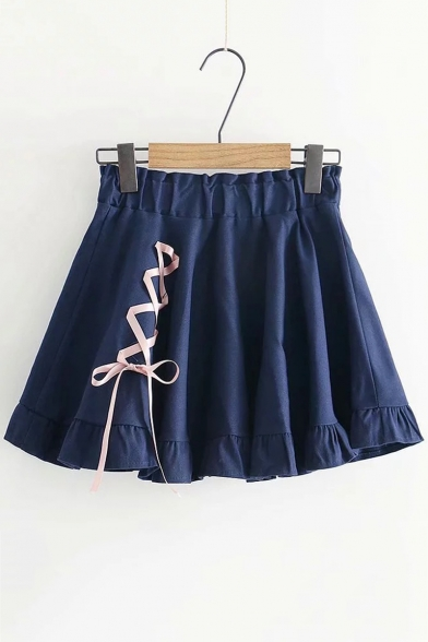 Girls Cute Lace-Up Side Elastic-Waist Simple Plain Mini A-Line Pleated Skirt with Liner