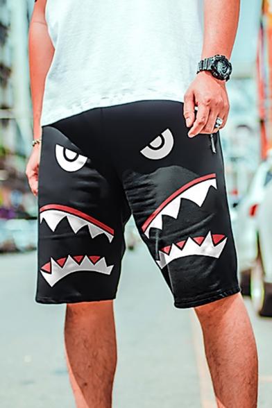 Guys Street Style Shark Printed Zip-Pocket Drawstring Waist Loose Sport Running Sweat Shorts