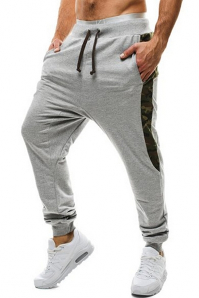 Guys Stylish Camo Patched Side Drawstring Waist Cotton Casual Sport Sweatpants