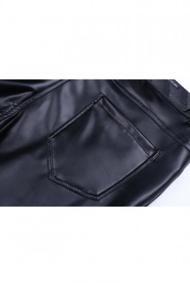 Mens Cool Simple Plain Stretch Slim Fit Black PU Pants Trousers