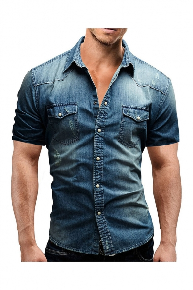 Mens New Fashion Retro Washed Short Sleeve Fitted Work Shirt Button-Up Denim Shirt