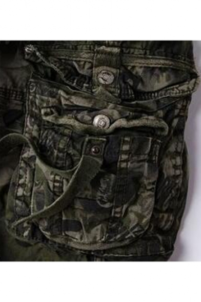 New Stylish Cool Leopard Camo Printed Casual Cotton Cargo Shorts for Guys