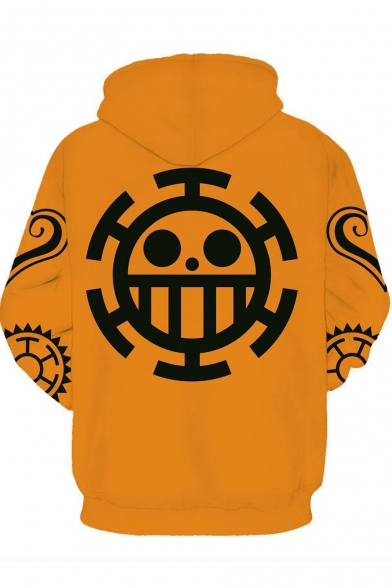Classic Logo Printed Long Sleeve Comic Casual Pullover Yellow Hoodie